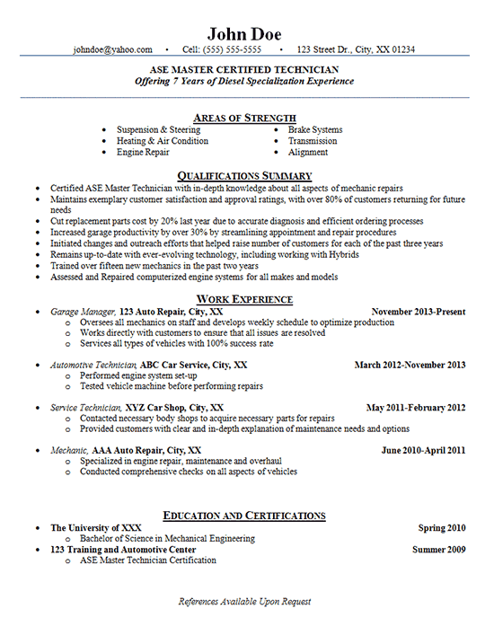 resume examples automotive technician