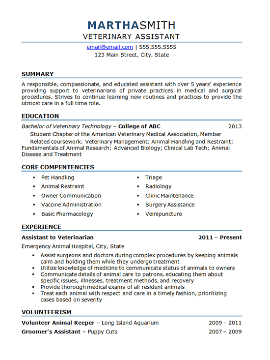 vet tech assistant sample resume