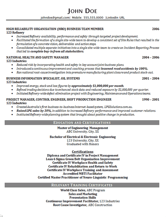 example of resume construction