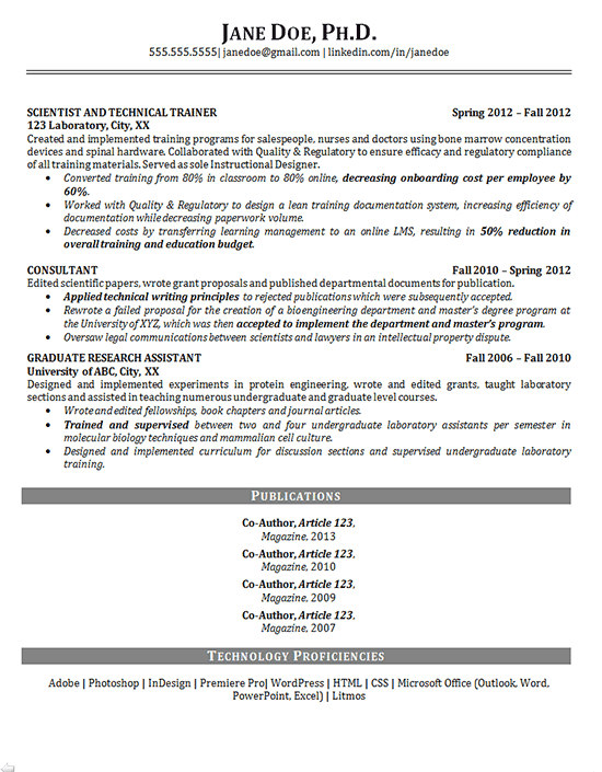 resume template for phd application