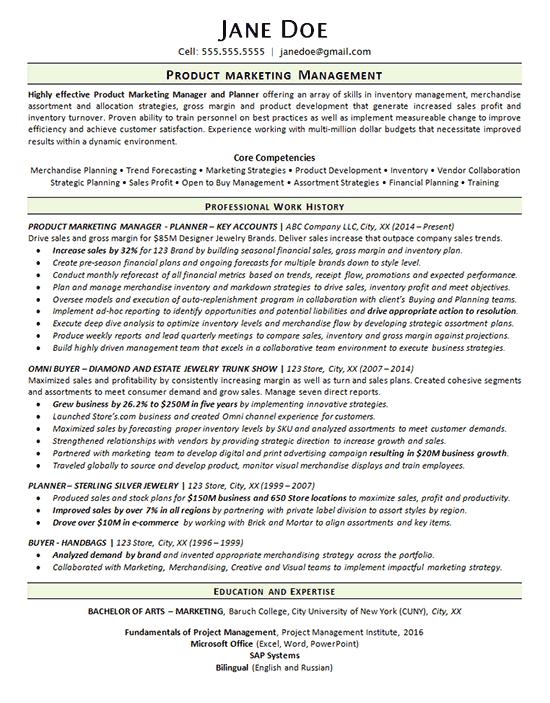 sample resume for merchandise manager
