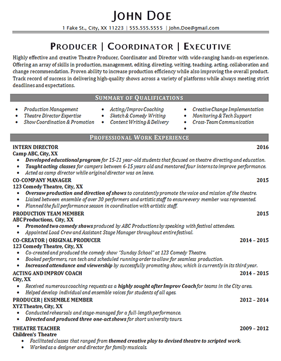professional theater resume
