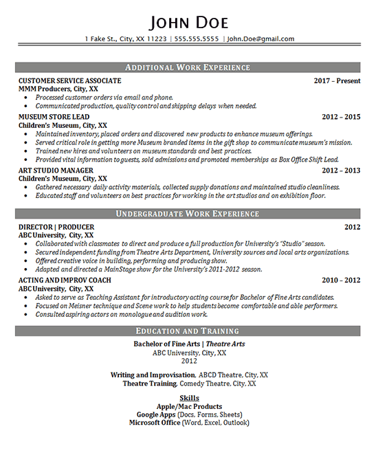 overview resume examples
