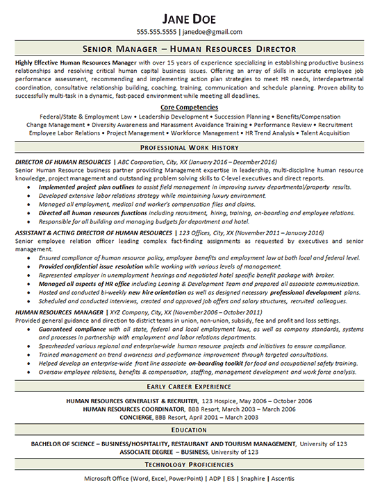good hr resume examples