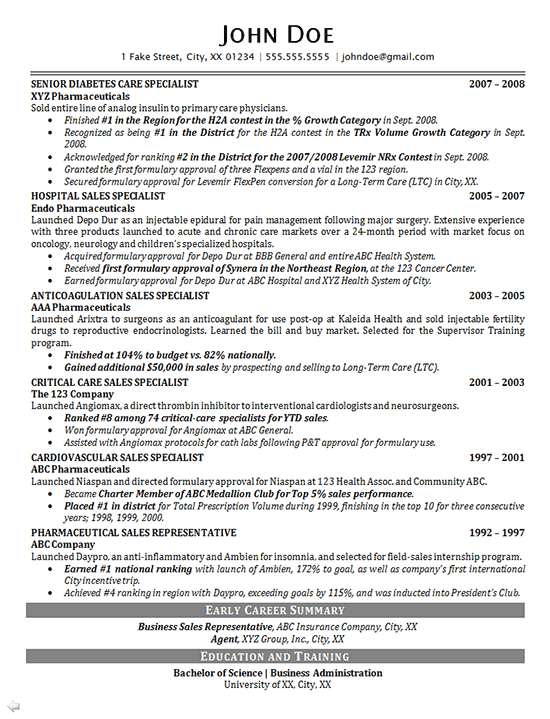resume intro for sales