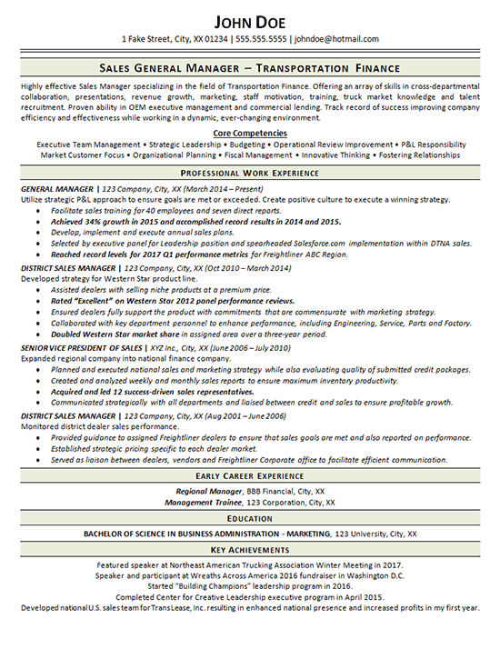 resume sample key accomplishments