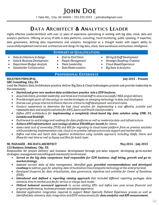sample resume of big data developer