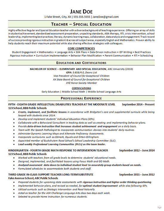 special education teacher resume samples 2017