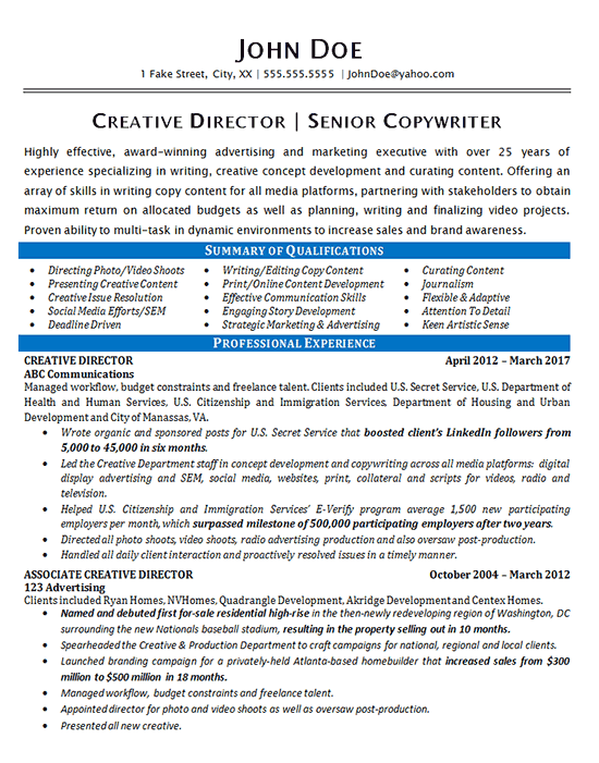 resume example director of it