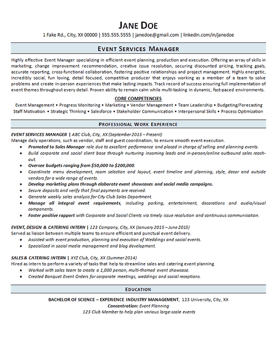 catering sales manager resume examples