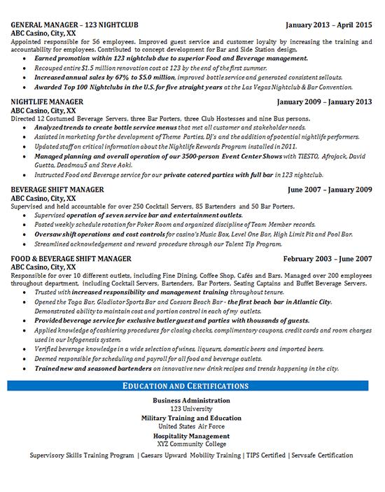 resume bar description