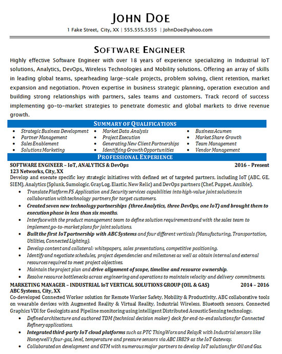Industrial Software Engineering Resume Example
