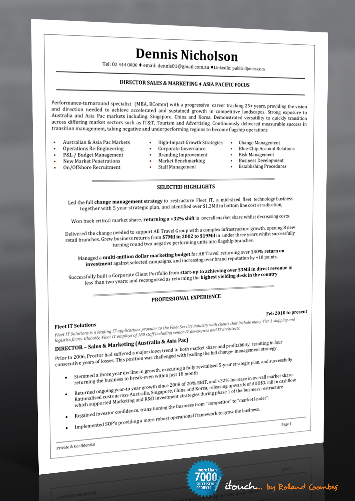 resume writing services perth