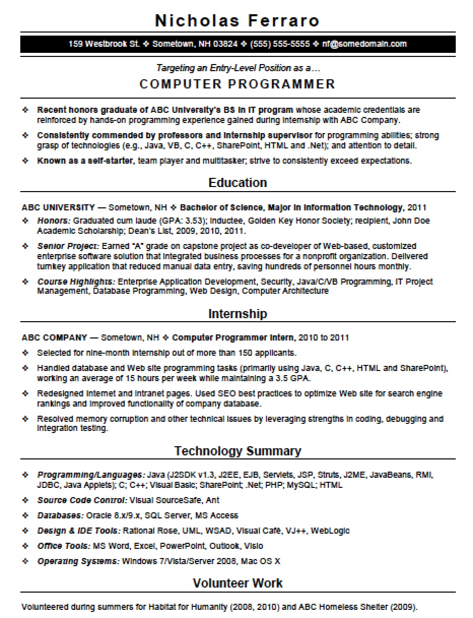 entry level java programmer resume sample – Sample Resume
