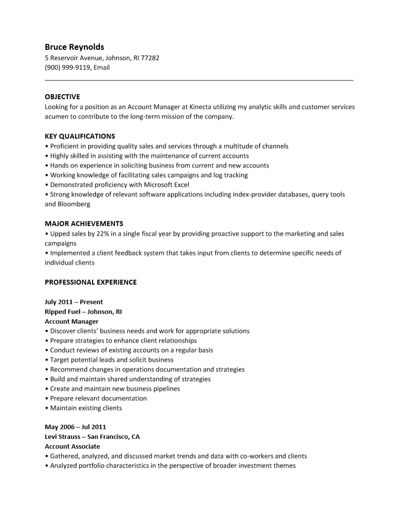 resume in text format sample