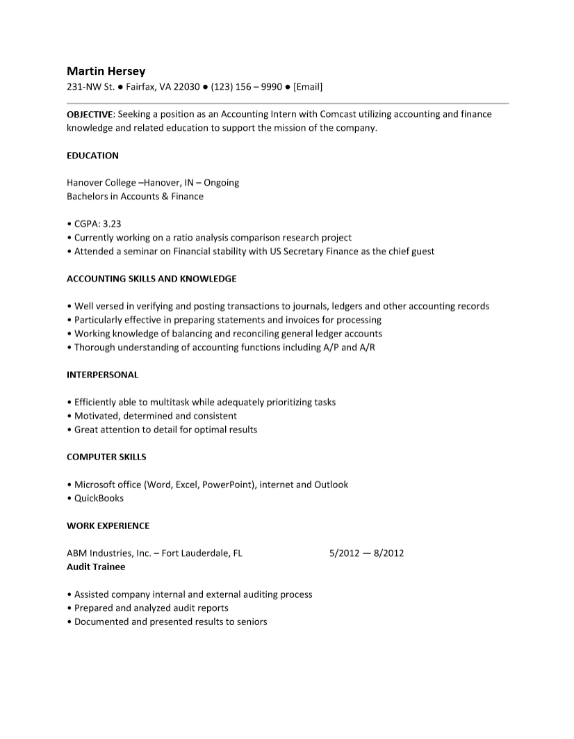 resume for internship accounting