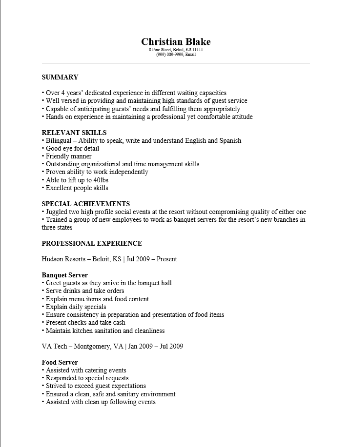 waitress description for resumes