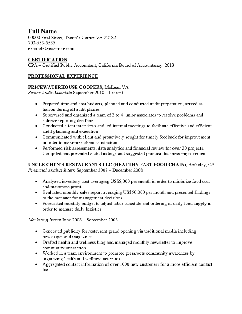 public accounting resume templates