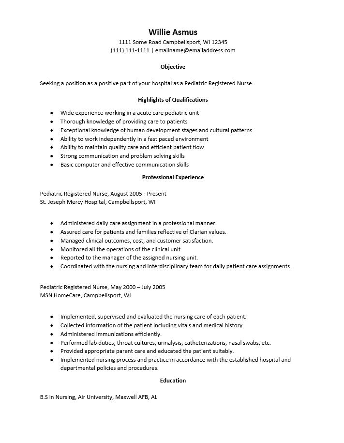 Pediatric Rn Resume Examples - Resume Examples | Resume Template