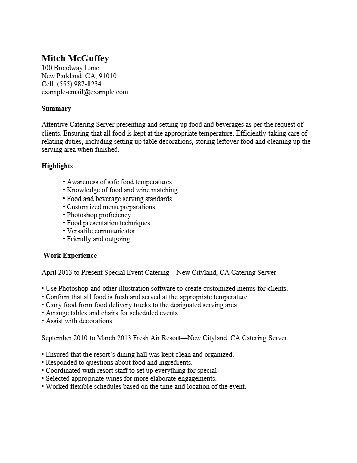 Internet  Catering Server Resume