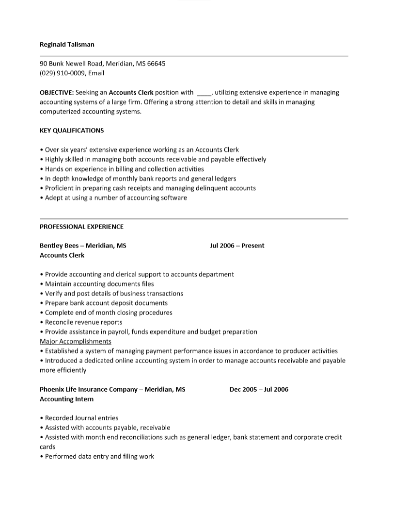 sample resume for accounting clerk