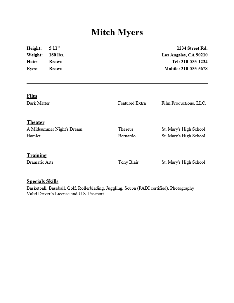 beginning acting resume template resume and cover letter beginning acting resume template acting resume samples and examples ace your audition pics photos beginner