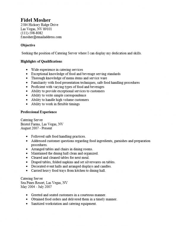 catering server job description for resume