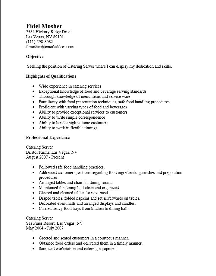 chronological catering server resume sample
