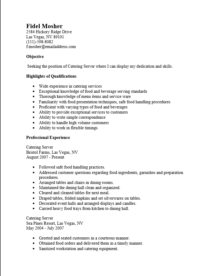 server resume examples free
