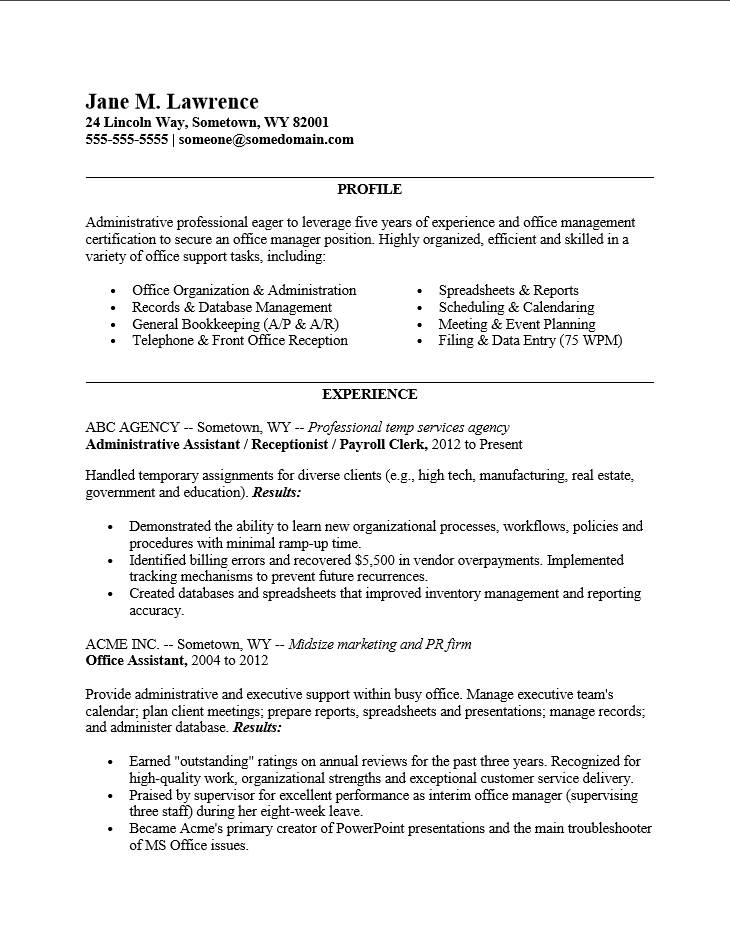 situation action result examples resume