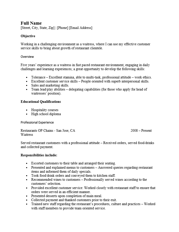 Example Of Server Resume – Objective for Server Resume