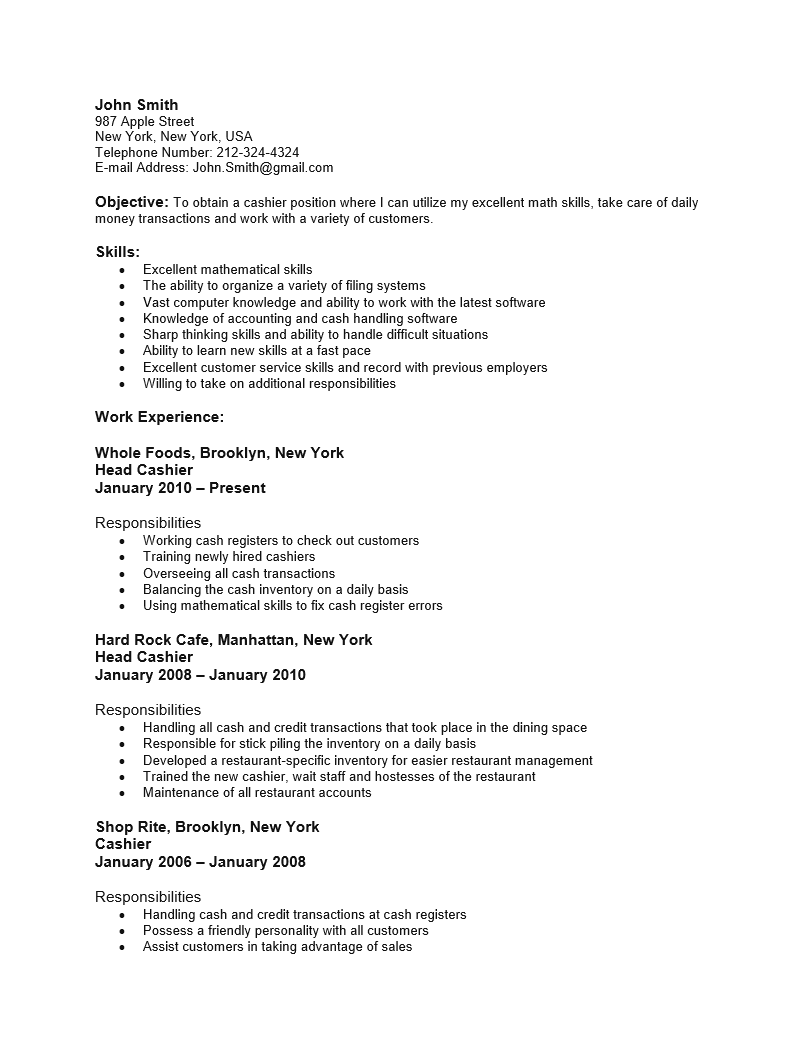 Cashier Resume Template Entry Level ESL Energiespeicherl Sungen