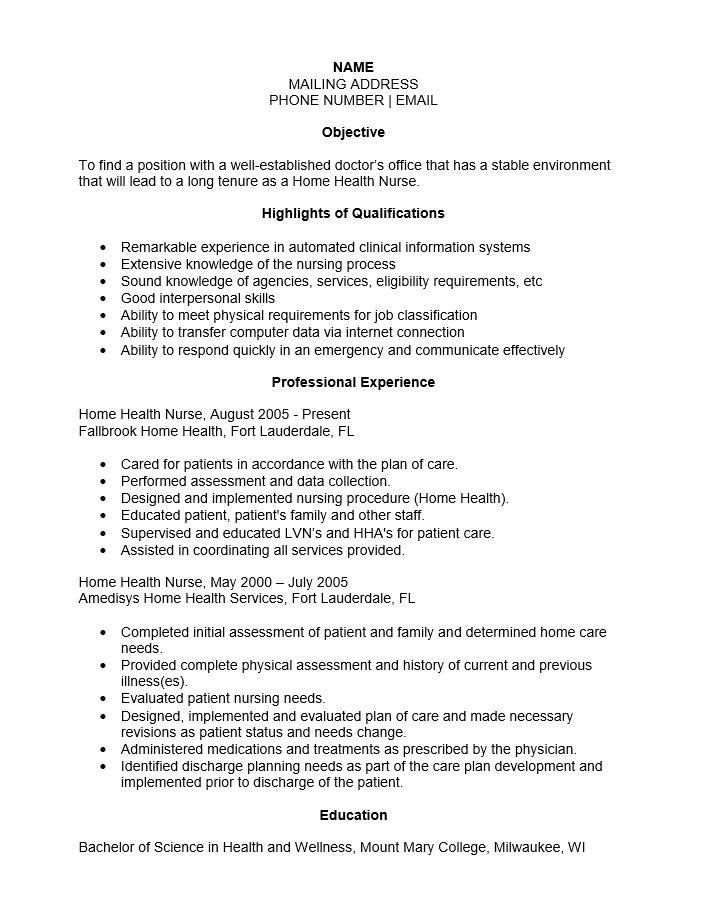home health aide resume sample doc