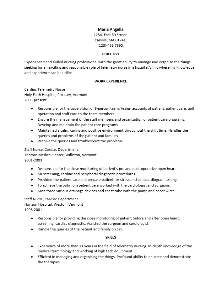 cardiac cath lab nurse resume