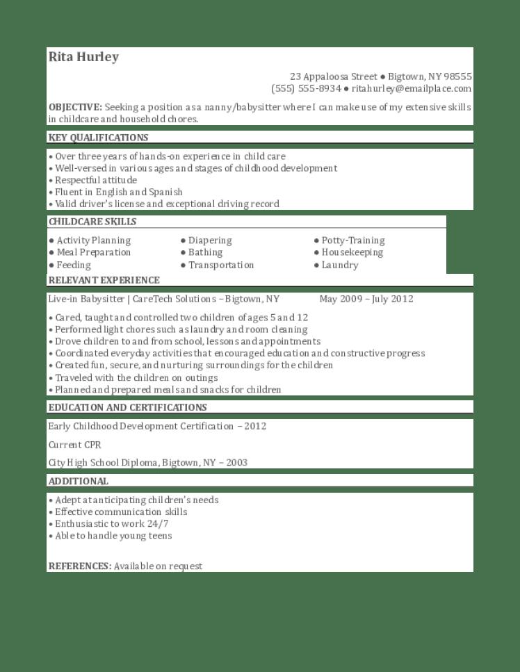 resume description for babysitter