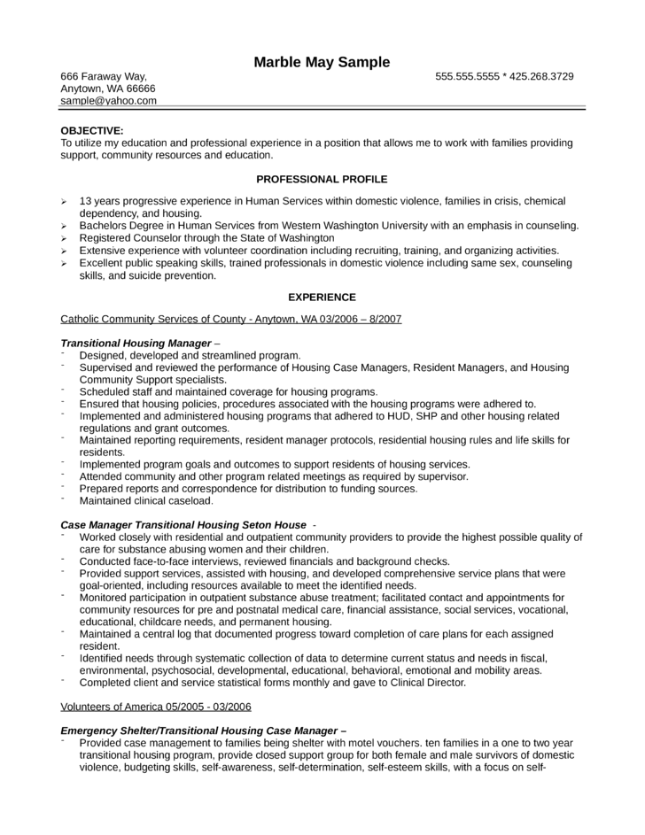 Doc.#596842: Sample Resume for Case Manager – Case Manager resume ...