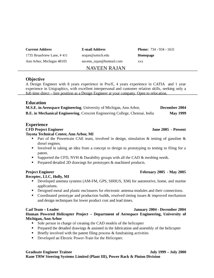 sample resume for l1b visa application