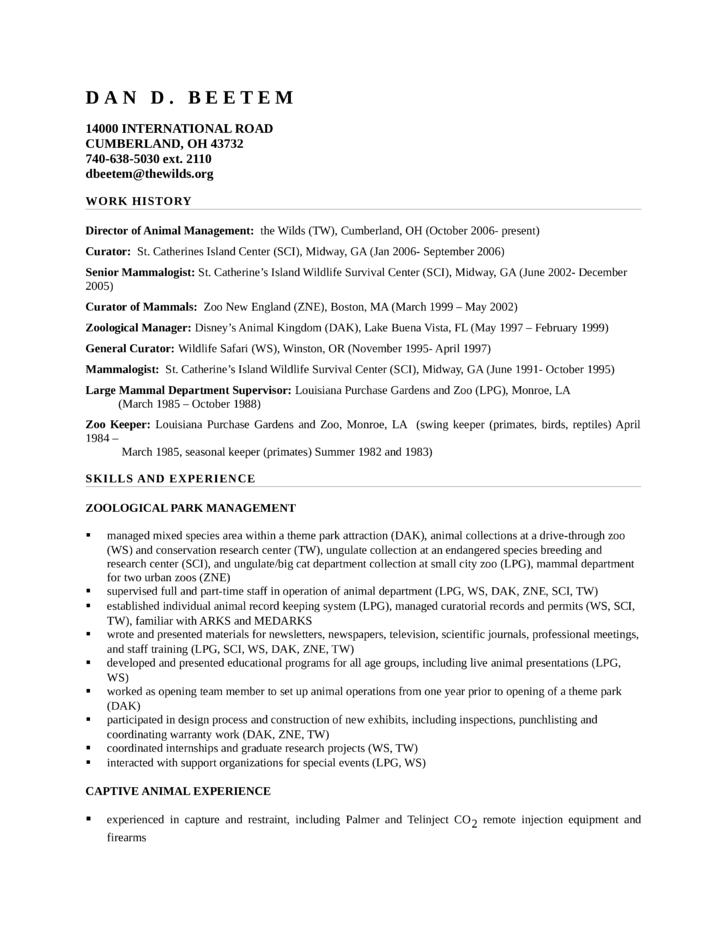 Cover Letter Examples Zookeeper | Resume Cover Letter Examples