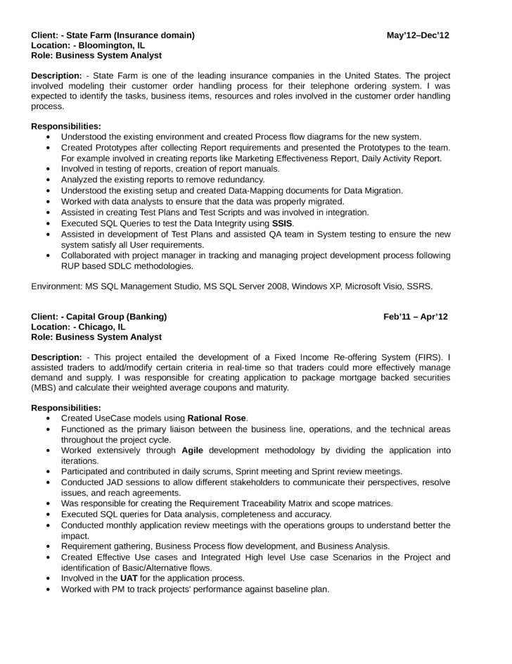 quant analyst resume sample