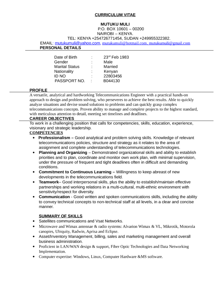 Telecommunications Resume Example Business Telecommunications Technician Resume Template
