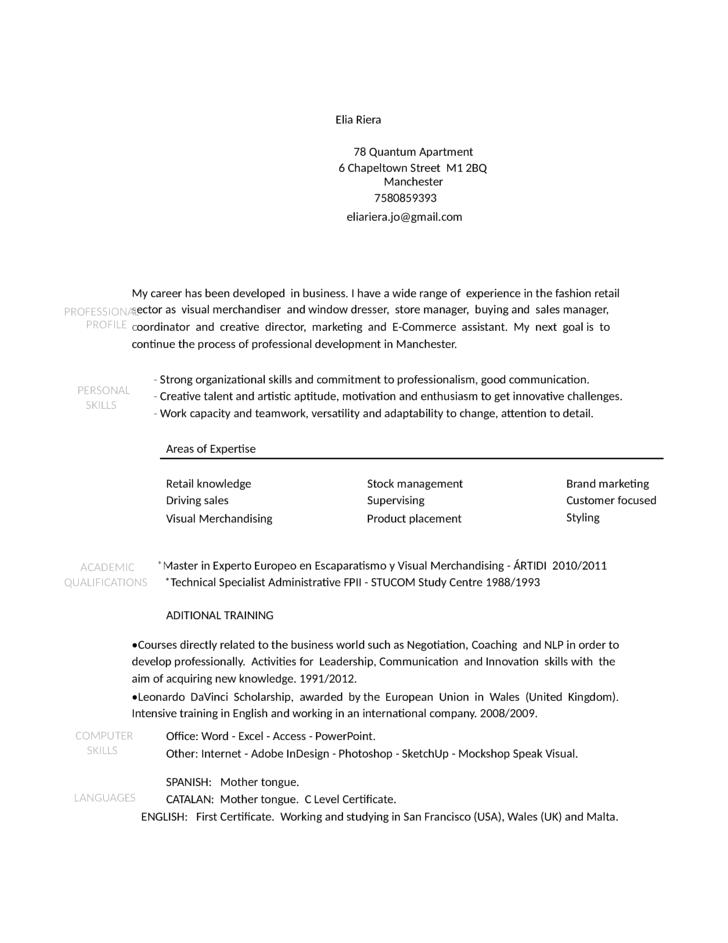 visual merchandiser resume
