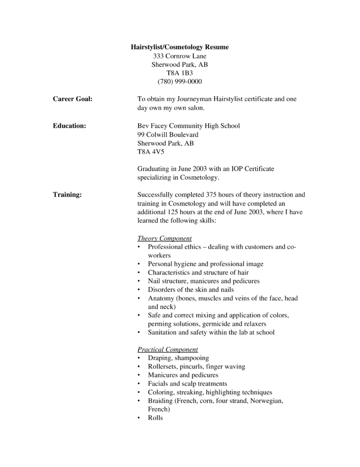 resume for hair stylist