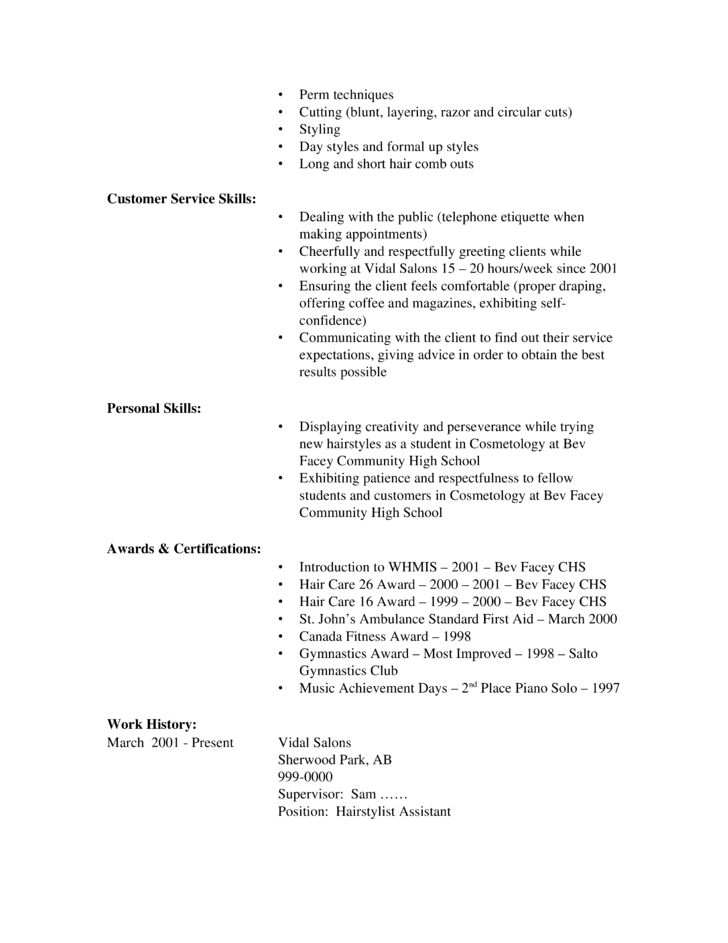 example resume for perm application