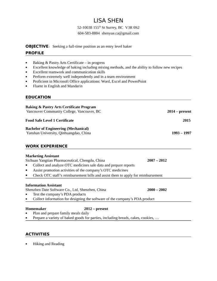 job description for a baker