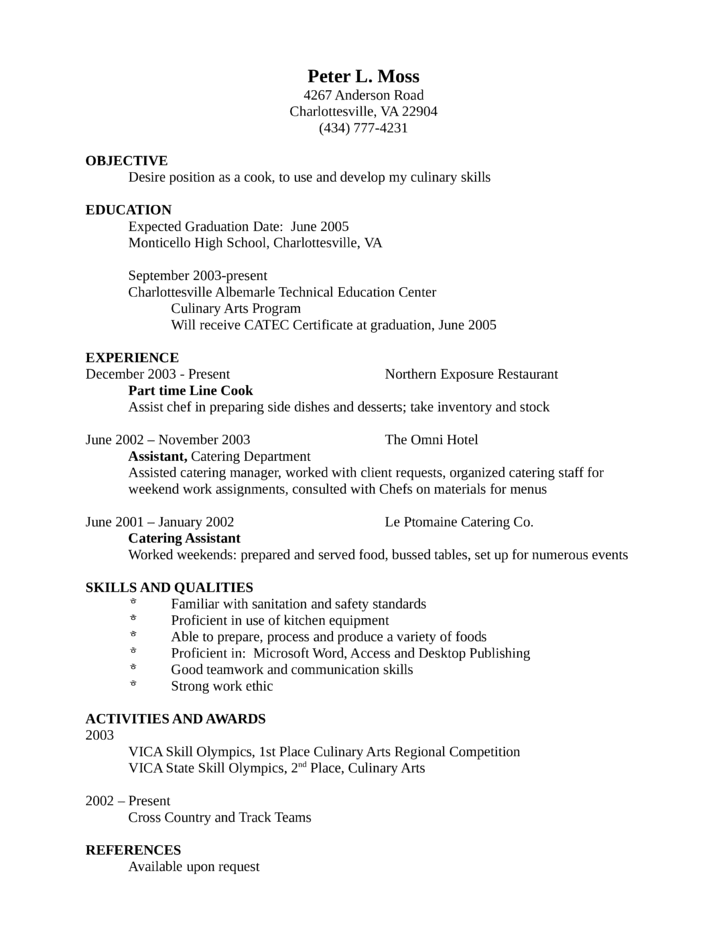 Resume Examples Cover Letter Samples Career Advice Entry Level And Freshers Cook Resume Template