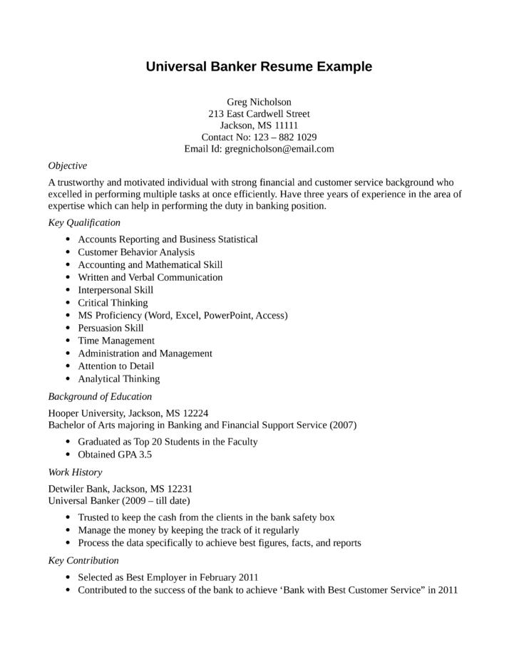 banking resume samples for freshers