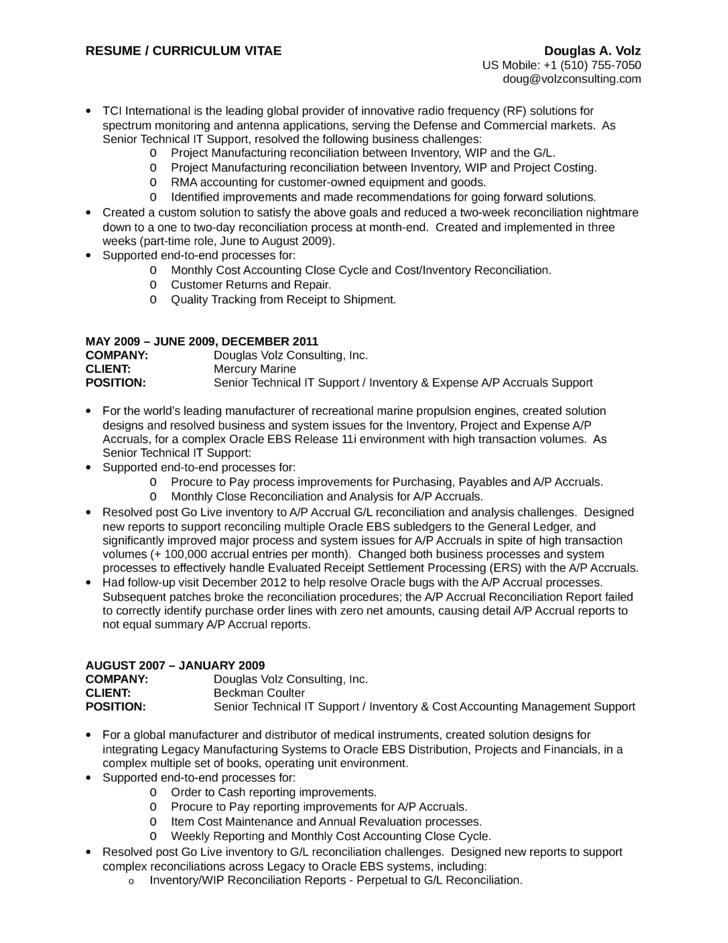 consultant analyst resume
