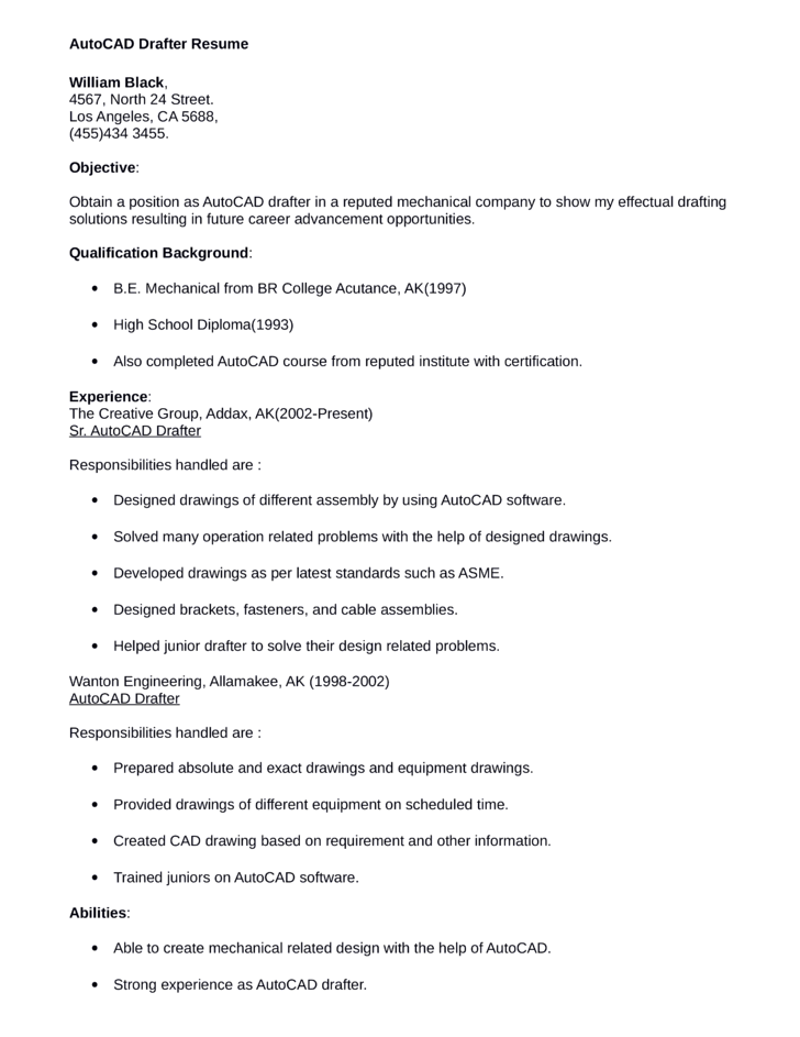 design draftsman resume example
