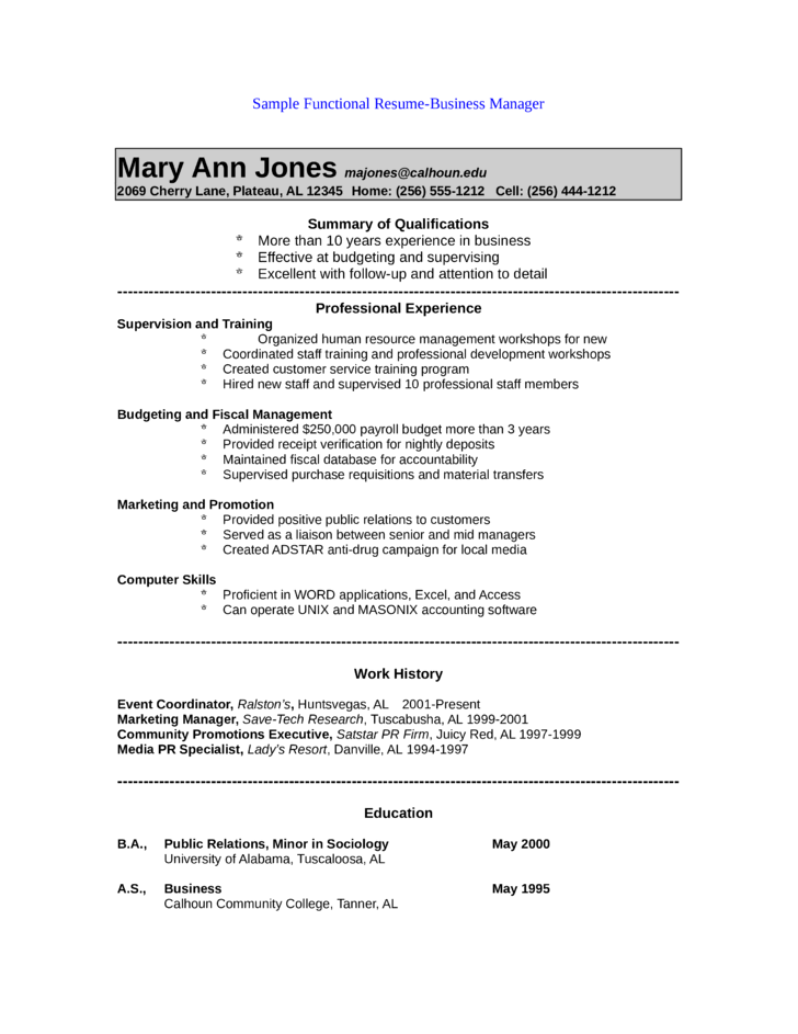 accounting functional resumes