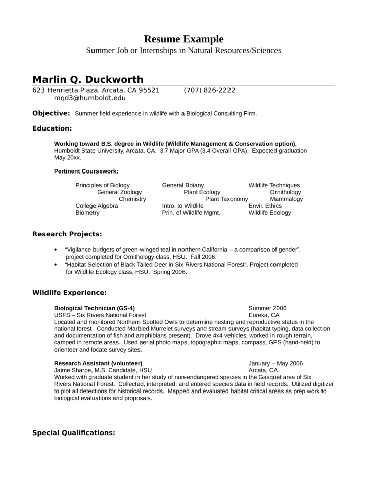 Example Resume Job Objective Examples Of Resume Objective Resume Samples Internship Wildlife Biologist Resume Example Template
